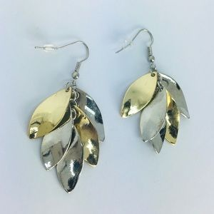 New! Gold Silver Two Tone Leaves Dangle Earrings